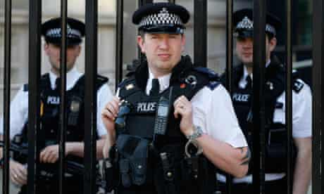 Police officers in Downing Street.