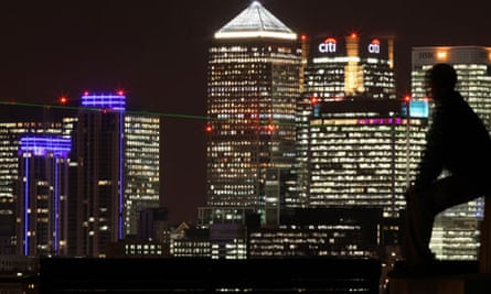 Canary Wharf Skyline seen at Night