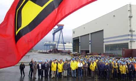 German shipyard workers on strike in 2003.