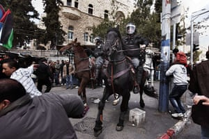 Land Day protests: Israeli mounted policeman disperse hundreds of Palestinian protesters