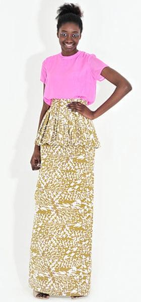 Line-up: peplums: Pink silk top