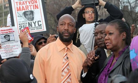 Tracy Martin. Sybrina Fulton, parents of Trayvon, at Million Hoodie March