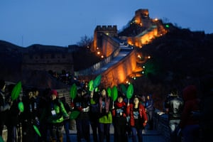 Earth Hour: Great wall of china duriong earth hour