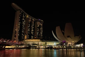 Earth Hour: The Marina Bay Sands hotel during Earth Hour in Singapore