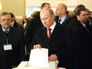 Russian election: Moscow: Russian Prime Minister Vladimir Putin casts his vote