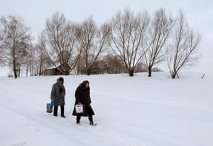 Russian election: Oktyabrsky, Arkhangelsk Oblast: Electoral officials carry a ballot box
