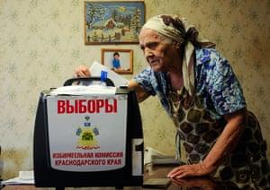 Russian election: Krasnodar, Krasnodarskiy Kray: An elderly woman casts her ballot