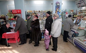 Russian election: Podolsk, Moscow Oblast: People receive their ballot papers