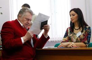 Russian election: Moscow: Presidential candidate Vladimir Zhirinovsky