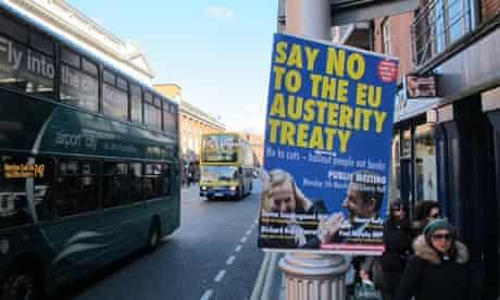 A Dublin poster calls on Irish voters to reject the EU fiscal compact