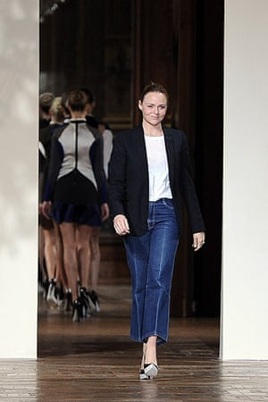Paris - Stella McCartney: Designer Stella McCartney acknowledges the applause from the audience