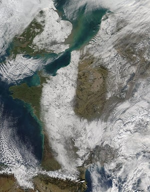 Satellite Eye on Earth: The snowy landscape of France and the United Kingdom