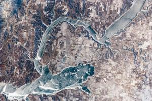 Satellite Eye on Earth: Ice covers the surface of northwestern Lake Sakakawea