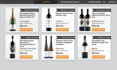 A screenshot from the website of US-based wine club Lot18
