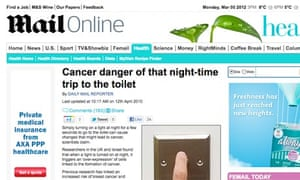 Mail Online screengrab - Cancer danger