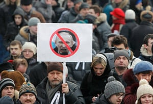 Putin protest: Opposition supporters gather before a protest