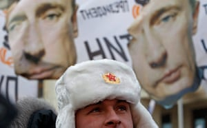 Putin protest: A rally in support of Russian PM Putin held close to Moscow 's Kremlin