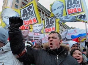 Putin protest: Supporters of Putin at a rally