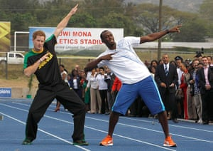 Prince and Usain: Prince Harry and Usain Bolt pose at the Usain Bolt track, Kingston, Jamaica