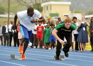 Prince and Usain: Prince Harry is first out of the blocks
