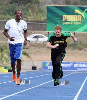 Prince and Usain: Prince Harry races Usain Bolt
