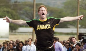 Prince and Usain: Prince Harry looks pleased after beating Usain Bolt in a short sprint