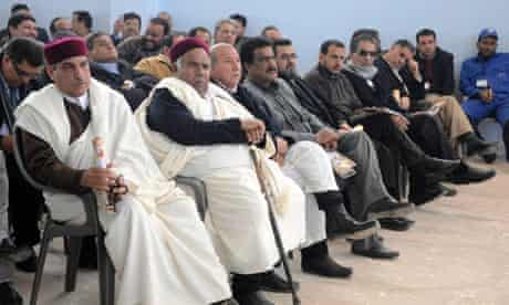 Libyan tribal and political leaders attend a meeting in Benghazi