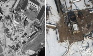 Images of the Yongbyon nuclear reactor site from 20 September 2011, left, and 3 February 2012, right