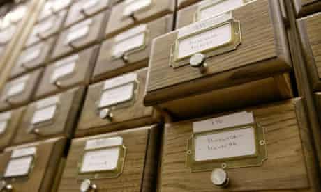 Library catalogue box file archive