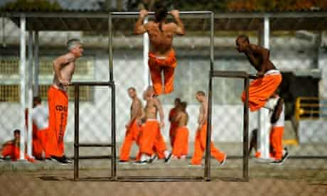 Exercise yard Chino state prison, California