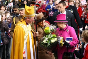 Royals in Leicester: Queen Elizabeth II is given some flowers as she visits Leicester Cathedral
