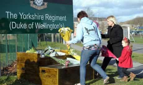 Floral tributes at Yorkshire Regiment barracks