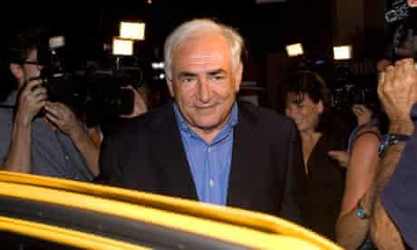 Former IMF director Dominique Strauss-Kahn, leaves L'Artusi restaurant in New York