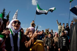 Inside northern Syria: A woman chants anti government slogans during a protest in northern Syria
