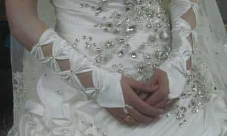 Aya in her wedding dress.