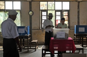 Burma elections: Voters cast their ballots at a polling station in Kawhmu