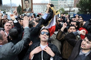 Syrian protests: Supporters of Syrian President Bashar al-Assad demonstrate in Istanbul