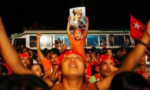 Burmese celebrate victory of Aung San Suu Kyi