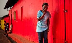 Ghana woman on phone