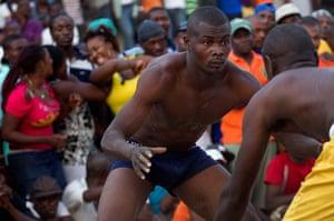 Haiti - A longer view: Jean Phillipe and Venes Pierre prepare to fight
