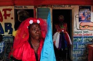 Haiti - A longer view: People dressed for a Gaga ceremony near Santo Domingo
