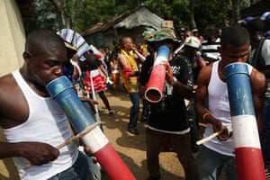 Haiti - A longer view: Musicians perform at a Gaga ceremony in the Domincan Republic