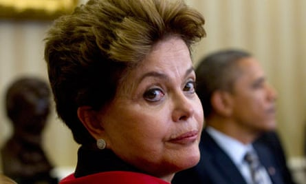 Brazil's president Dilma Rousseff with Barack Obama at the White House