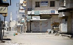 Aleppo, Syria: The market square of Saraquib lies deserted