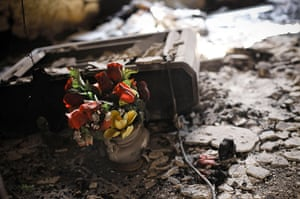 Aleppo, Syria: Plastic flowers lie amongst the burned ruins of a house