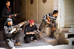 Aleppo, Syria: Rebels of the Free Syrian Army prepare to engage government tanks
