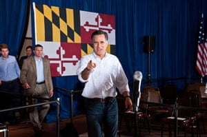 Pointing Mitt: Mitt Romney speaks to press following a campaign rally in Arbutus, Maryland