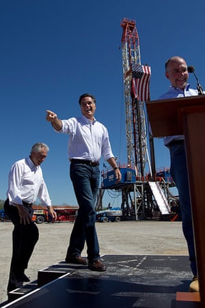 Pointing Mitt: Mitt Romney gestures as he takes the stage in Shreveport, Louisiana