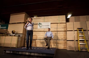 Pointing Mitt: Mitt Romney speaks at a building supply store in Green Bay, Wisconsin