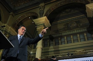 Pointing Mitt: Mitt Romney speaks to supporters at The Grain Exchange in Milwaukee